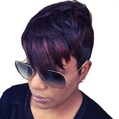 Shang KE Highlight Kurz Pixie Haar Perücke Natur Höhe Haar Perücken für Damen schwarz (Pixie Cut Perücken)