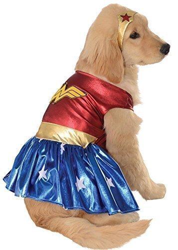 Fancy Me Mädchen Haustier Hund Katze Animal Wonder Woman Superheld Halloween Weihnachtsgeschenk Kleidung Kostüm Kleid Outfit - S