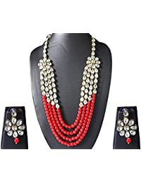 AyA Fashion Designer Multi Layer Stylish Red Pearl And Kundan Long Raani Haar Necklace Set With Floral Earrings...