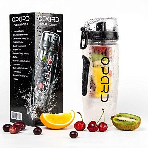 Kinder-kunststoff-wasser-flasche (Opard Wasserflasche 1 Liter Fruit Infuser Sports Trinkflasche Water Bottle Tritan BPA-frei mit Kühlung Obst Flasche Kunststoff (Schwarz))
