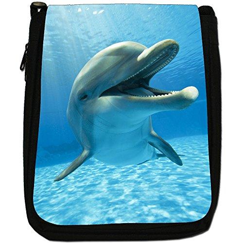 Delfini Medium Nero Borsa In Tela, taglia M Smiling Cute Dolphin