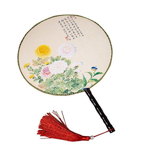 Milopon Fächer Handfächer Japanische Chinesische Runden Fächer für Hochzeit Dekoration Geschenk Tanzabend Party Kostüm Maske Karnevals (Chrysantheme) (Gäste Für Geschenke Die Hochzeits)