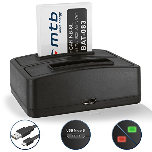 Akku + Dual-Ladegerät (USB) NB-6L für Canon IXUS 85 is, 95 is / Powershot D10, D20, D30, SX260 HS, SX540 HS - weitere Modelle s. Liste! -