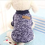 ILOVEDIY Pull pour Chien chihuahua moyen,vêtements pour chiens et chats chaud hiver costume (S, Bleu marine)