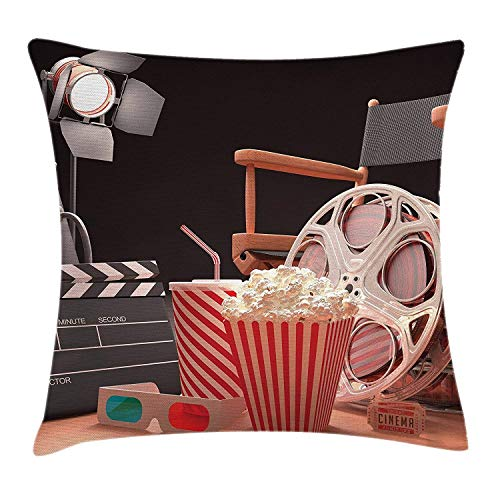 Xukmefat Movie Theater Throw Pillow Cushion Cover, Objects of The Film Industry Hollywood Motion Picture Cinematography Concept - Motion-sofa
