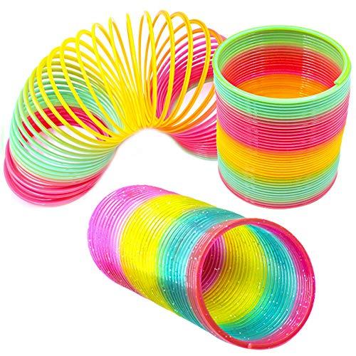 Kalaokei Spring Toy, schöne Kunststoff Slinky Rainbow Kreis Spring Toy lustige Kinder Kinder Geschenk 2# (2 Baby-spielzeug Dollar Unter)