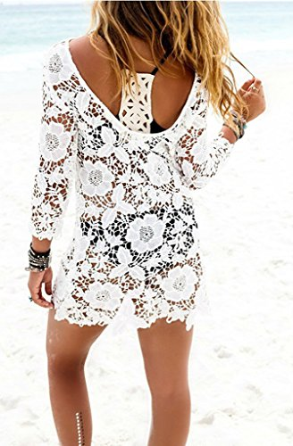 Bigood Femme Sexy Robe See-through Manche Longue Blouse Plage Hollow-out Blanc#A
