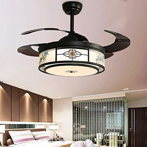 Nuanxin Moderne Led Schwarz Büro Esszimmer Schlafzimmer Fan Licht, Leise Motor, Energiesparende Lichtquelle, DREI-Geschwindigkeit Einstellung, Durchmesser 50 cm T10 -