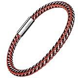 Herren Armband Edelstahl Echtleder Armband - Murtoo schwarz|braun geflochten mit Magnet Verschluss(22cm) (edelstahl rot)