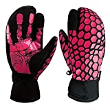 boildeg Skihandschuhe,Herren Ski Snowboard Handschuhe Wasserdicht Warm Winterhandschuhe Winddicht (Rosa, S)
