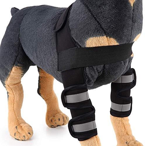 SRFDD Pet Dog Ellenbogenbandage, 2PCS Vorderbeinbandage - Hund Knieschützer Pet Joint Wrap Gelenkpflege Dog Support Brace,Black,M - Therapeutische Brace Support-wrap