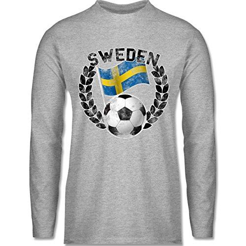 Shirtracer Fußball-WM 2018 - Russland - Sweden Flagge & Fußball Vintage - Herren Langarmshirt Grau Meliert