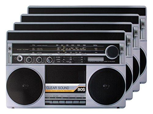 4 PZ di tovagliette americane in stile retro radio (145115), set da tavola in polipropilene di alta qualità, Misure 44 x 29 cm, per decorazione festa a tema anni 80 radio nostalgia