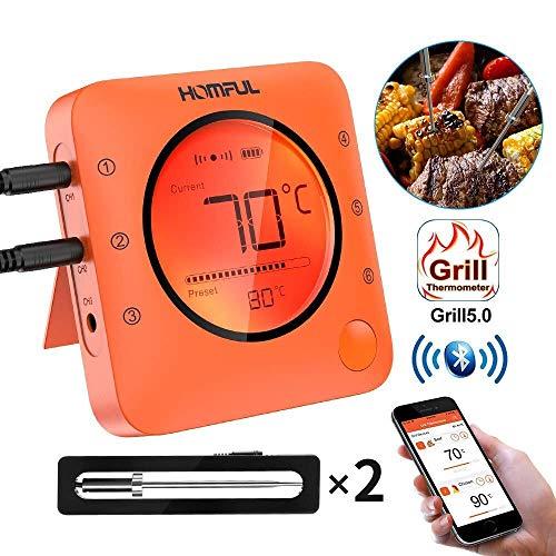 Fleisch Thermometer, Bluetooth-Digitalbackofen-BBQ-Back-Thermometer, drahtloses ferngesteuertes APP-gesteuertes Grill-Thermometer mit 2 Edelstahlsonden zum Kochen, Backen, Grillen, Backen und Räuchern