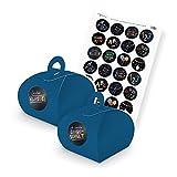 itenga SET Schulanfang (Motiv 88) 24x Geschenkschachtel mit Griff blau + Stickerbogen