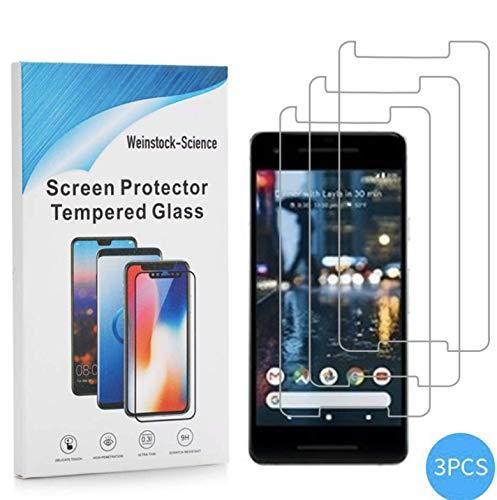 Weinstock-Science   3X bruchsicheres Panzerglas für Google Pixel 2   Schutzfolie aus 9H Echt Glas Transparent