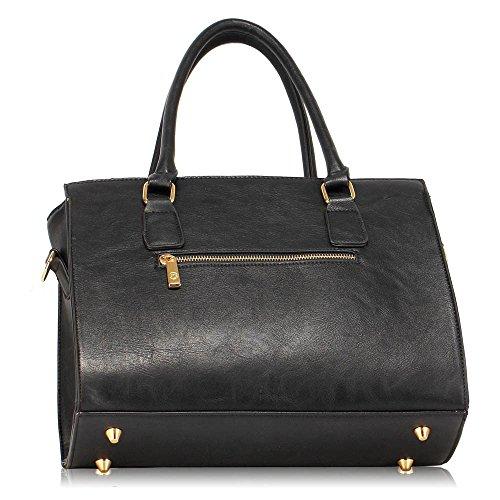 Frau Schulter Taschen Faux Leder Handtasche oben Griff Taschen zum Frau mit Gold Metall Arbeit lange Gurt Handtaschen und Polka Punkte Stoff innen Schwarz