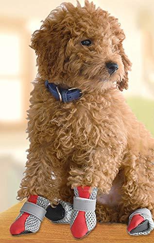 rutschfeste atmungsaktive Puppy Shoes Set Teddy weiche untere Schuhe VIP Net Schuhe Hund Schuhe weiche und bequeme rutschfeste Sohle frisch und atmungsaktiv Nacht reflektierenden S ()