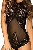 HO-Ersoka Damen Body Teddy Einteiler Neckholder aus Tüll und Spitze, hinten geschnürt schwarz XS-M