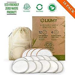 LIUMY-16PCS Waschbare Abschminkpads, Wattepads wiederverwendbar/waschbar, Gesichtsreinigung/Zero Waste+1 PCS Wäschebeute