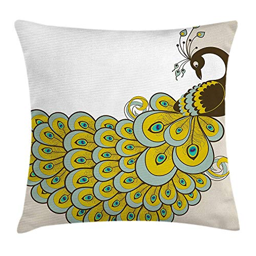 ZTLKFL Animal Throw Pillow Cushion Cover, Peacock with a Colorful Tail Design Bird of Sophistication Illustration, Decorative Square Accent Pillow Case, 18 X 18 inches, Brown Sage Green Beige Kraft Sage Green