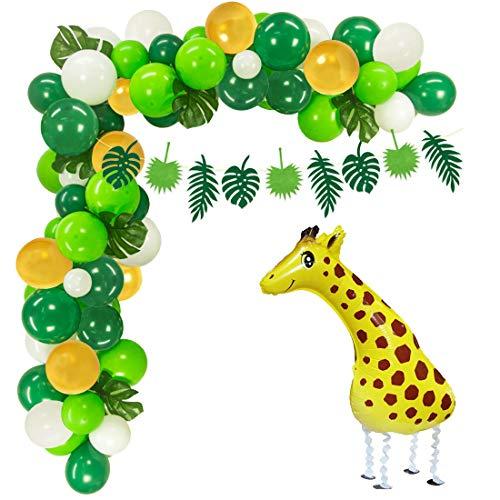 Party Supplies Safari Partydekorationen 100 Latexballons, Giraffen-Mylar-Ballon, Dschungel-Girlande, künstliche Palmblätter, Baby-Dusche, Geburtstag ()