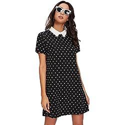 ROMWE Mujer Vestido Casuales Camiseta De Manga Corta Collar Cuello Polka Dot Túnica Vestido M