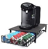 Ever Rich® Tassimo-Kapselaufbewahrung für 64 Stück, T-Disc Kaffeekapseln, Bosch Tassimo Ständer und Aufbewahrungsschublade, Anti-Vibrations-Design, schwarzes Metall. (Black Drawer 60)