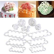OUNONA 12PCS Stampi Per Pasta Di Zucchero Tagliapasta Rosa Stampi Ad Espulsione Pasta Di Zucchero (Divertimento Cookie Cutters)