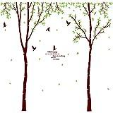 Wandtattoo großer Baum mit Vögeln - Wandbild für Wohnzimmer oder Schlafzimmer - Baum Motiv mit Blättern, Zweigen & Vögeln - Wandsticker für Erwachsene