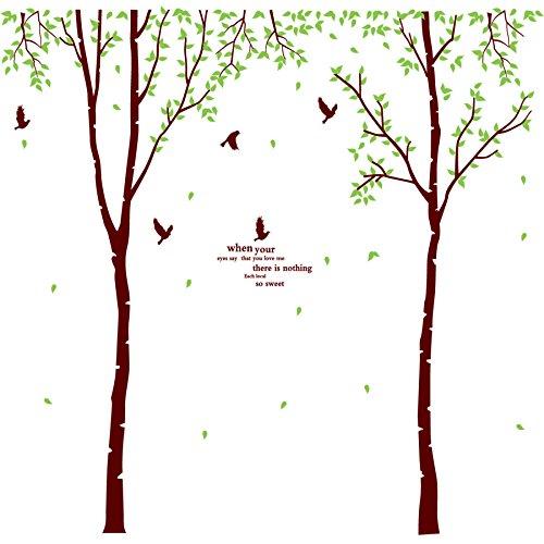 Wandtattoo Wandbild für Wohnzimmer oder Schlafzimmer. Stilvolles Baum Motiv Blätter Zweige u. Vögel up to the minute und stylisch Wandsticker für Erwachsene Wandaufkleber zum Gestalten einer individuellen Wand