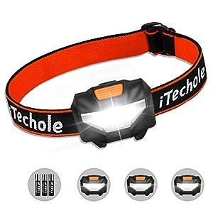 Linterna Frontal Led, Techole Linterna de Cabeza Super Ligera 60 Grados Ajustables, 3 Modos de Luces, Ahorro de Energía COB Linterna Frontal para Correr, Caminar, Acampar, Pescar, Niños (3 Pilas AAA Incluidas)