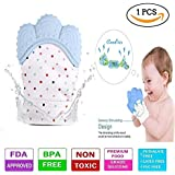 Baby Station Teething Mitten For Infants, Baby Boys & Girls, Silicone Teething Mitt Teether Gloves BPA Free, Teething Toys, Ideal Baby Shower Gift (1 Piece) (Sky Blue)