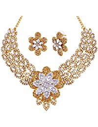 eb09f88eaa04c Apara Floral LCT Austrian Diamond Necklace Set with Maang Tikka for Women
