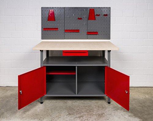 Kreher XL Werkstatt 3tlg. Werkbank 120 x 60 x 85 cm mit abschließbaren Türen, Schublade, Boden und einer Werkzeugwand mit umfassendem Haken Sortiment aus Metall.