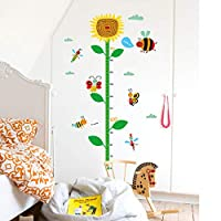 ZWXDMY Height Measurement Wall Sticker,Sunflower Insect Ladybug Butterfly Cartoon Animals Waterproof Stickers Family Kids Room Bedroom Child Growth Art Poster Mural