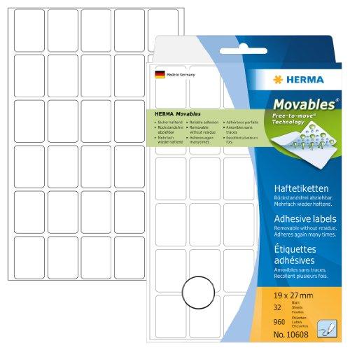 Herma 10608 Vielzwecketiketten ablösbar ohne Klebe-Rückstände (19 x 27mm, Movables, Papier matt) 960 Stück auf 32 Blatt, weiß, Handbeschriftung