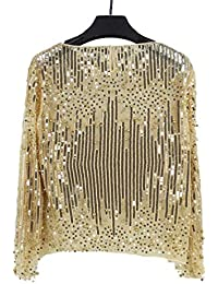 70f6f22d3b5f FuweiEncore Frauen schnüren Sich Oben Hemd Langarm Blusen Rundhals Sexy  Pailletten Spitzenbluse Top (Farbe   Gold, Größe…