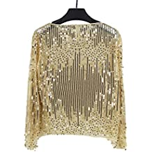9fa476463e7a FuweiEncore Frauen schnüren Sich Oben Hemd Langarm Blusen Rundhals Sexy  Pailletten Spitzenbluse Top (Farbe