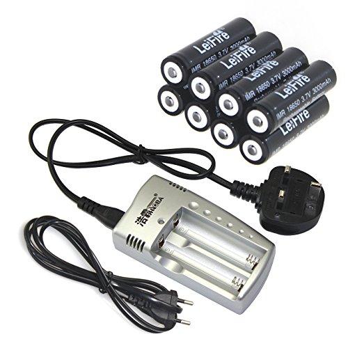 Galleria fotografica 8x batteria ricaricabile agli ioni di litio 186503000mAh 3,7V + caricabatterie per torcia LED