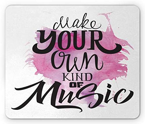 ASKSSD Rock and Roll Mouse Pad, Make Your Own Kind of Music Typography on Brushstroke Background, Standard Size Rectangle Non-Slip Rubber Mousepad, Black Fuchsia White