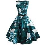 VEMOW Heißer Elegante Damen Mädchen Frauen Vintage Bodycon Sleeveless Beiläufige Abendgesellschaft Tanz Prom Swing Plissee Retro Kleider(Grün, EU-42/CN-XXL)