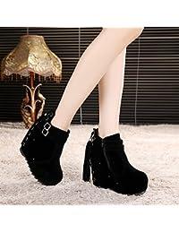 khskx-suede botas mujer Martin botas plataforma de tacón zapatos nuevos zapatos Botas Cremallera Lateral