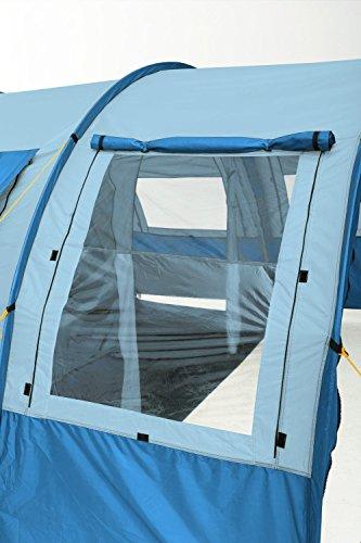 CampFeuer - Tunnelzelt mit 2 Schlafkabinen, blau/hellblau, 5000 mm Wassersäule, mit Bodenplane und versetzbarer Vorderwand - 6