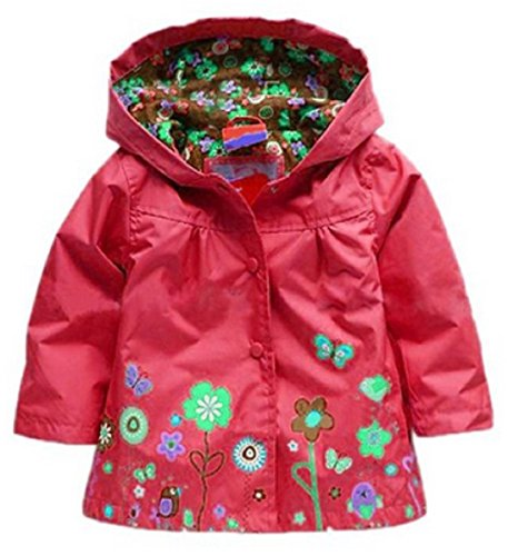 Girls Rain Coat Jacket Summer Hood Windbreaker Spring Mac Raincoat Age 1 to 6 Years Pink/Blue/Green/Purple/Red (1-2 Years (90), Red)