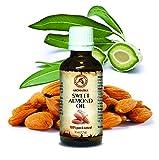 Olio di Mandorle Dolci Puro 50ml - Amygdalus Dulcis - Italia - Cura Intensiva per Viso - Corpo - Capelli e Pelle - Ottimo con Olio Essenziale - Massaggi - Relax