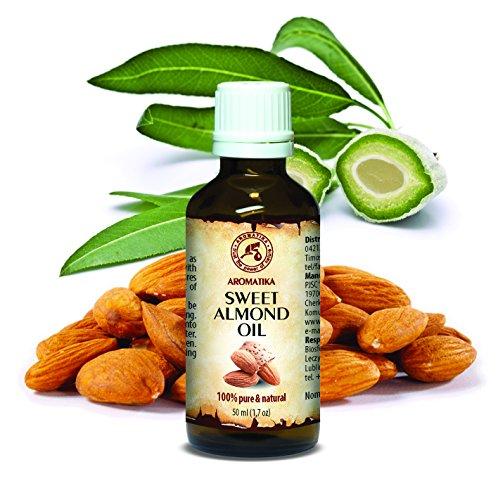 Mandel Öl 50ml - Prunus Amygdalus Dulcis - Italien - Almond Oil - 100% Rein & Natürlich - Basisöl - Raffiniert - Pflege Gesicht - Körper - Haare - Hände - Lippen - für Schönheit - Massage - Kosmetik (Für Den Mandel-öl Körper Süßes)