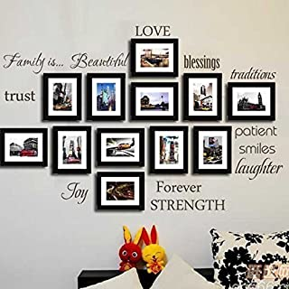MAFENT Family Wall Decal Set of 12 Family Words Quote Vinyl Family Wall Sticker Picture Wall Decal Family Room Art Decoration (The Picture. No photos included)