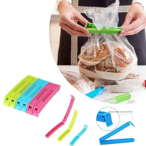 K Kudos Enterprise Plastic Food Snack Bag Pouch Clip Sealer for Keeping Food Fresh for Home Kitchen Camping Snack Seal Sealing Bag Clips (3 inch) (Pack of 6) - (Assorted)