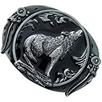 SGerste Western-Gürtelschnalle Heulender Wolf aus Metall